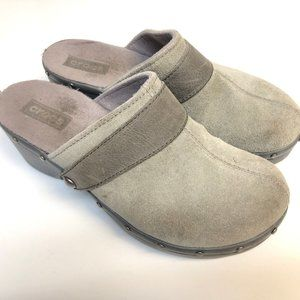 """CROCS """"Cobler"""" 12314 Gray Suede Studded Mules"""
